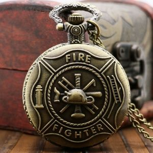 Bronze Antique Style Fire Fighter Pocket watch